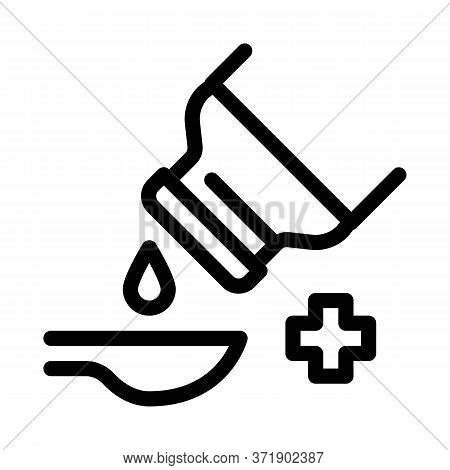 Drip Syrup Into Spoon Icon Vector. Drip Syrup Into Spoon Sign. Isolated Contour Symbol Illustration