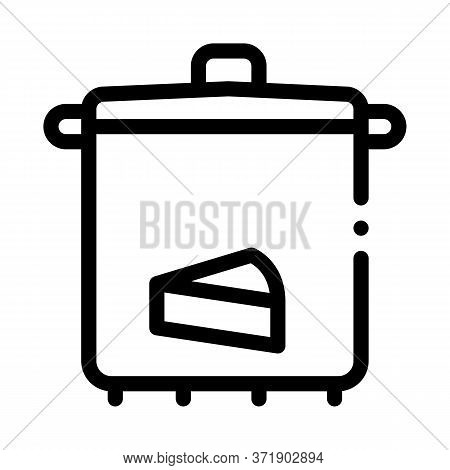 Cheese Soup Pan Icon Vector. Cheese Soup Pan Sign. Isolated Contour Symbol Illustration