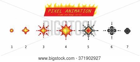 Nuclear Explosion. Pixel Art 8 Bit Fire Objects. Game Icons Set. Comic Boom Flame Effects. Bang Burs