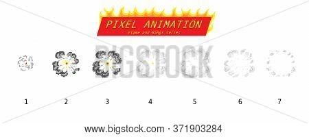 Pixel Art 8 Bit Fire Objects. Game Icons Set. Comic Boom Flame Effects. Bang Burst Explode Flash Dyn