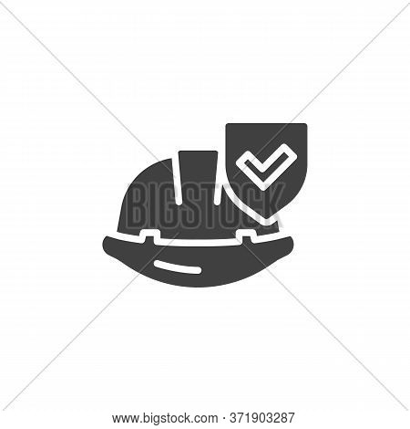 Work Insurance Vector Icon. Filled Flat Sign For Mobile Concept And Web Design. Hard Hat With Protec