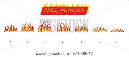 Pixel Art 8 Bit Fire Objects. Game Icons Set. Comic Boom Flame Effects. Animation Process Steps. Ban