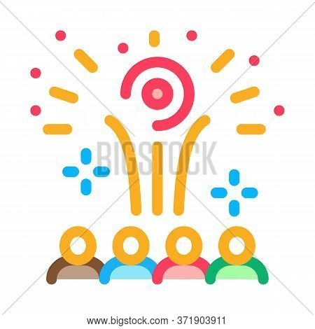 Contemplation By People Of Fireworks Icon Vector. Contemplation By People Of Fireworks Sign. Color S