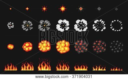 Pixel Art 8 Bit Fire Objects. Nuclear Explosion. Game Icons Set. Comic Boom Flame Effects. Bang Burs