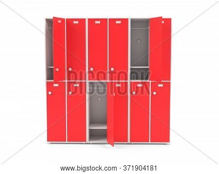 Red Lockers. Two Row Section Of Lockers For Schoool Or Gym. 3d Rendering Illustration Isolated On Wh