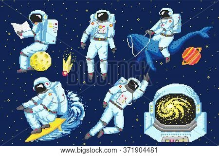 Pixel Art Astronaut. Spaceman 8 Bit Objects. Space Art, Digital Icons. Cosmonaut On A Whale, Moon An