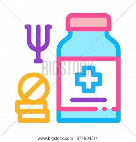 Medical Pills For Mental Disorder Icon Vector. Medical Pills For Mental Disorder Sign. Color Symbol