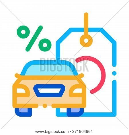 Car Purchase At Interest Icon Vector. Car Purchase At Interest Sign. Color Symbol Illustration