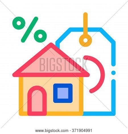 Interest Home Purchase Icon Vector. Interest Home Purchase Sign. Color Symbol Illustration
