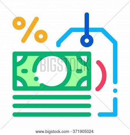 Interest Is Money Icon Vector. Interest Is Money Sign. Color Symbol Illustration