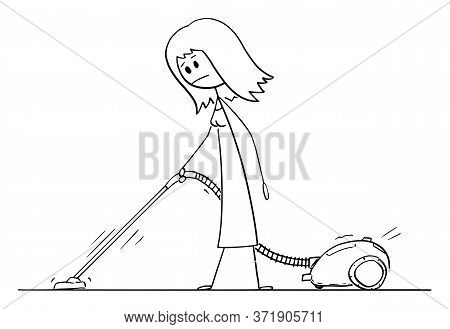 Vector Cartoon Stick Figure Drawing Conceptual Illustration Of Woman Vacuuming Or Cleaning The Floor