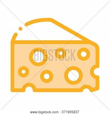 Coarse Triangular Cheese Bar Icon Vector. Coarse Triangular Cheese Bar Sign. Color Symbol Illustrati