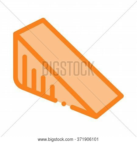 Triangular Piece Of Cheese Icon Vector. Triangular Piece Of Cheese Sign. Color Symbol Illustration
