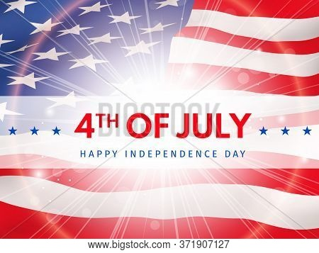 Happy 4th Of July, Independence Day - Poster With The Flag Of The United States Of America. Usa Inde