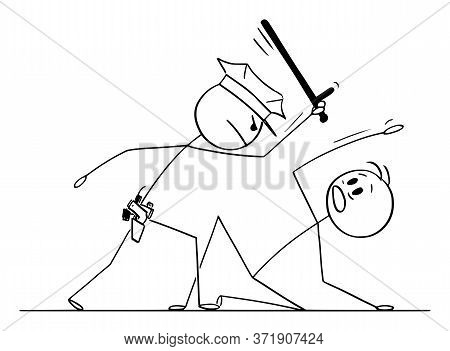 Cartoon Stick Figure Drawing Conceptual Illustration Of Police Officer Or Policeman Beating Proteste