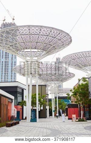 Dubai, Uae, November 2019 View Of Bluewaters Island Attractions And The Dubai Eye Ferris Wheel