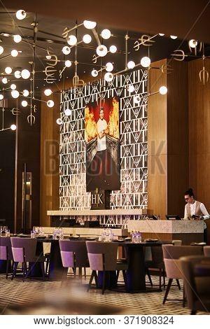 Dubai, Uae, November 2019 Hells Kitchen Restaurant In Dubai On Bluewater Island. Gordon Ramsays Rest