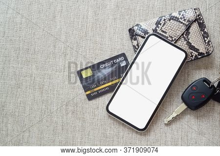 Mockup Blank Screen Mobile Phone For Online Payment And Car Rental Online Application Background Con