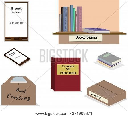 A Set Of Images In The Flat Style. E-readers, Papers Books Isolated And On Boxes And Bookshelf. Conc