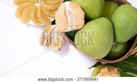 Fresh Pomelo, Pummelo, Grapefruit, Shaddock On White Background, Fruit For Mid-autumn Festival, Top