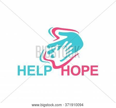 Help And Hope Logo Template - Helping Hand In Mofern Counter-form Decoration - Isolated Vector Emble