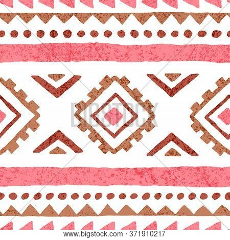 Cute Seamless Tribal Pattern. Simple Pink And White Vintage Geometric Background. Print For Home Tex