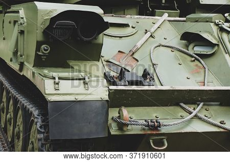 Russian Military Tank Armor Texture For Background In Khaki