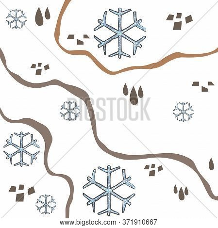 Winter Pattern With Hand Drawn Snowflakes And Lines. Terracotta. Scandinavian Style Mixed With Abstr