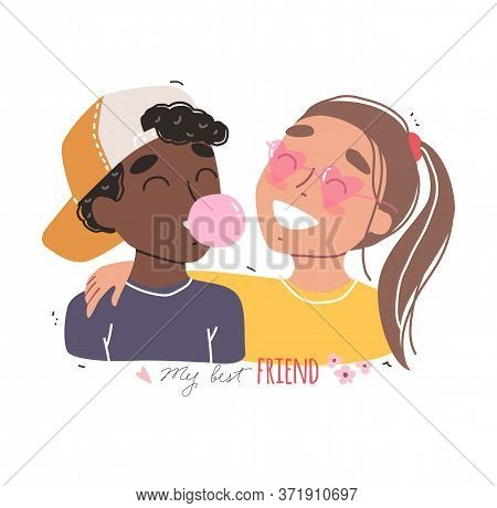 Portrait Of Smiling Multiracial Friends. Happy Friends Holding Each Other. Happy Friendship Day.