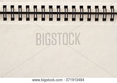 Empty Blank Sheet, Page Of Spiral Bound Notepad, Light Background, Copy Space