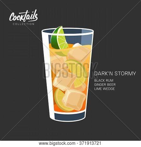 Dark Stormy Cocktail Rum Ginger Beer Vector Illustration