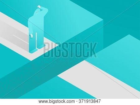 Business Strategy Issues, Carrier Or Psychological Problems Isometric Concept - Flat Confused Human