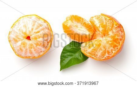 Mandarin Orange Isolated On White Background. Clementine, Tangerine With Green Leaf. Flat Lay. Top V