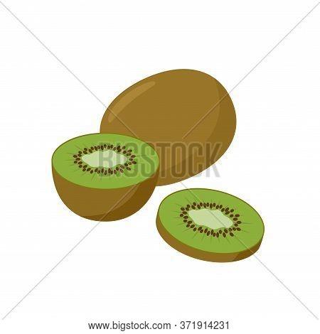 Kiwifruit Vector Illustration Isolated On White Background. Juicy Tropical Exotic Kiwi Fruit.
