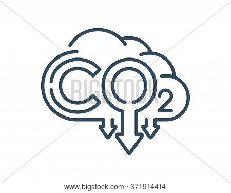 Co2 Emissions Icon - Harmful Air Carbon Contamination Emblem In Outline Style - Isolated Vector Sign