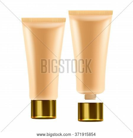 Facial Cream Skin Healthcare Cosmetic Tube Vector. Blank Package Of Visage Health Care Cosmetic Fash