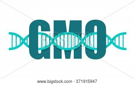 Gene-chain - Dna Genetic Strand Goes Through Gmo Word - Science Infographic Icon Or Illustration Ele