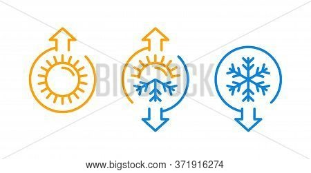 Hot And Cold - Flat Vector Icons With Symbols Of Sun And Snowflake - Climate Control, Difference, Cl
