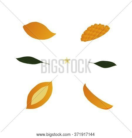 Set With Parts, Slices Of Yellow Mango And Green Leaves On A White Background. Set Of Fruits. Leaves