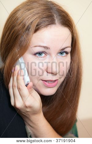 Attractive Woman Close Up With Telephone, Phone Calling