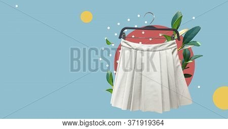 White Leather Pleated Short Skirt With Fresh Plants Isolated On Abstract Colorful Background. Women'