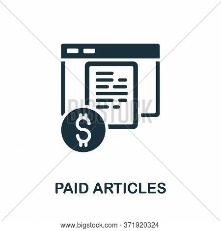 Paid Articles Icon. Simple Element From Content Marketing Collection. Creative Paid Articles Icon Fo