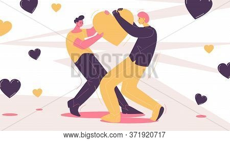 Two Adult Men Fighting For Like Or Heart. Popularity In Blog And Internet Concept Scene Drawn With P
