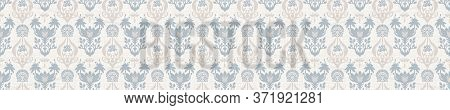 Seamless Ornate Medallion Border Pattern In French Cream Linen Shabby Chic Style. Hand Drawn Floral