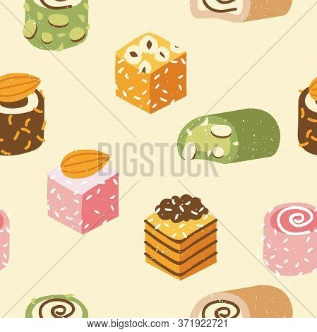 Vector Seamless Pattren Collection Of Turkish Sweets With Coconut Flakes And Nuts. Assortment Of Tas