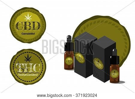 Vector Design Health And Medical Concept. Icon Or Logo For  Cbd Cannabinoids And Thc Tetrahydrocanna