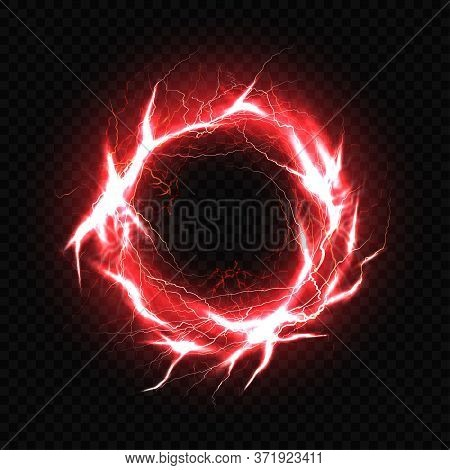 Electric Ball, Lightning Plasma Sphere, Circle Strike Impact Place In Red Color With Lens Flare Effe