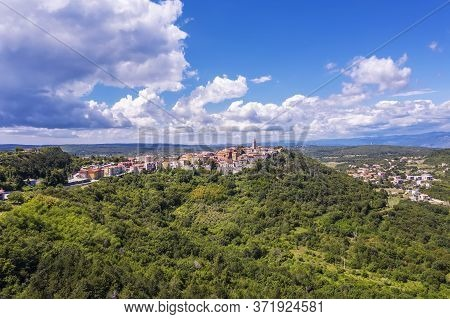An Aerial View Of Old Town Labin, Istria, Croatia
