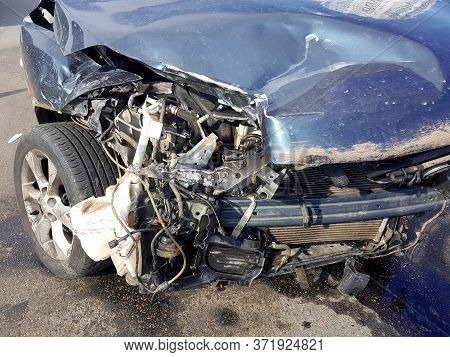 Wrecked Car Frontal Impact Collision Head On Collision Hood And Injured Engine Close Up Of Negative