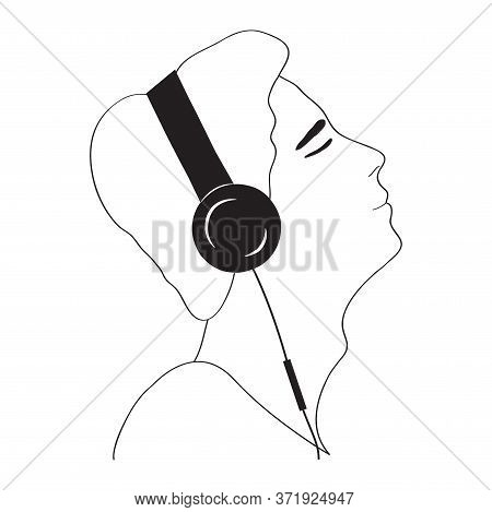 Profile Portrait Of Man In Headphones - Line Drawing. Concept Listening To Music, Reading An Audiobo